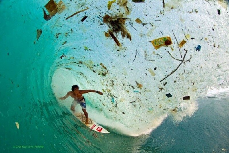 Surfing with plastic and pollution